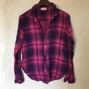 Cloth & Stone Pink Plaid Button-down